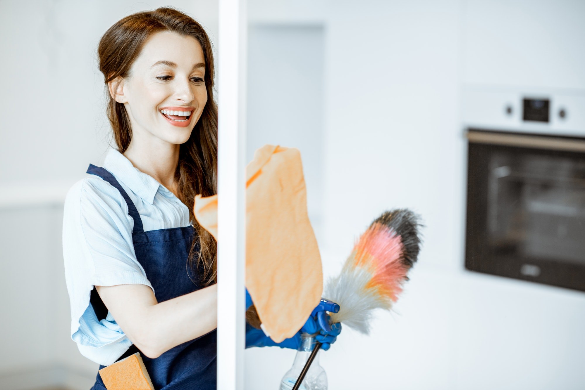 Woman cleaning at home